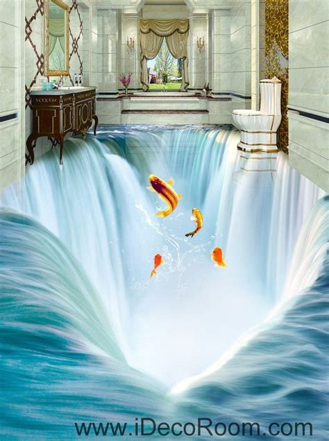 waterfall fish jumping  floor decals  wallpaper