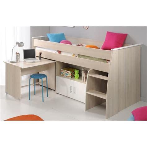 lit superpose combine bureau lit combin 233 charlemagne 90x200 acacia blanc achat vente lits superpos 233 s cdiscount