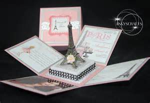 Parisian Baby Shower Invitations by Paris Themed Invitations With Eiffel Tower Jinkys Crafts