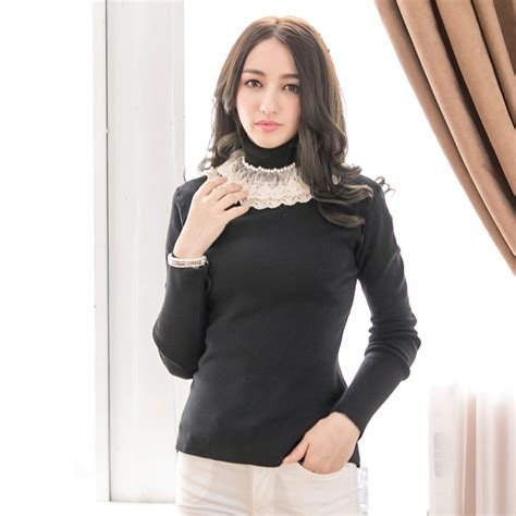 yoco womens high collar wool top with pearl lace detail korean fashion ebay