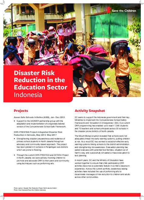 disaster risk reduction   education sector indonesia