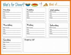 5 weekly dinner menu template procedure template sample With dinner menu template for home