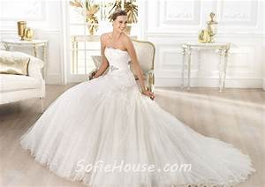 princess a line strapless glitter tulle flower wedding With wedding dress with glitter tulle