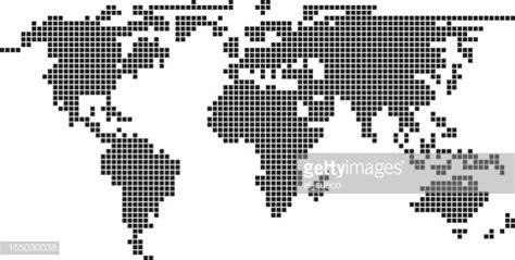 illustration pixel world map vector art getty images