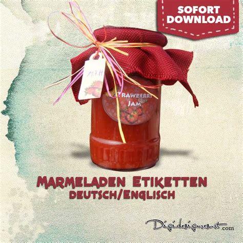 marmeladenglas etiketten mit anhaenger und deckelaufkleber