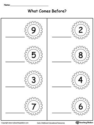 early childhood numbers worksheets myteachingstation 394 | What Number Comes Before Part2