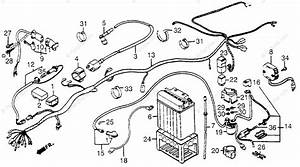 Honda Atv 1984 Oem Parts Diagram For Wire Harness    Battery