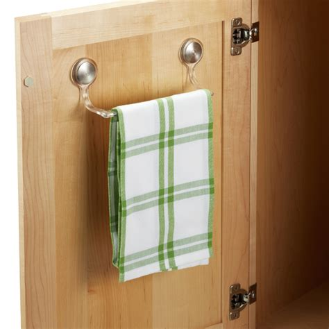 kitchen cabinet towel rack interdesign forma adhesive towel bar the container 5836
