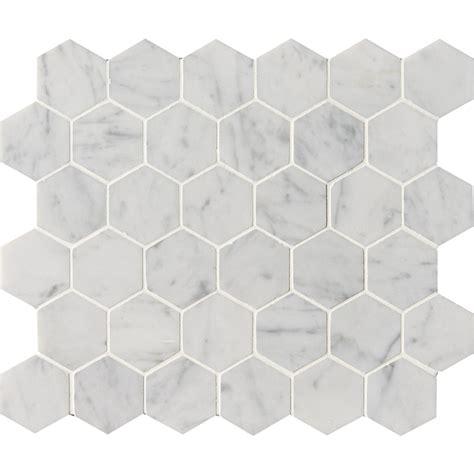 white carrara c honed hexagon marble mosaics 12x12