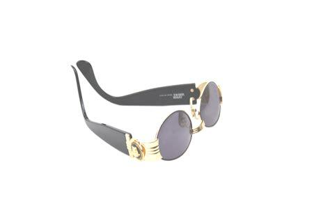 Vintage Gianni Versace Gold Medusa Black Sunglasses Mod