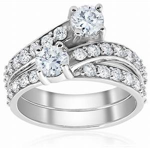 2ct diamond forever us 2 stone solitaire engagement ring With 2 wedding rings