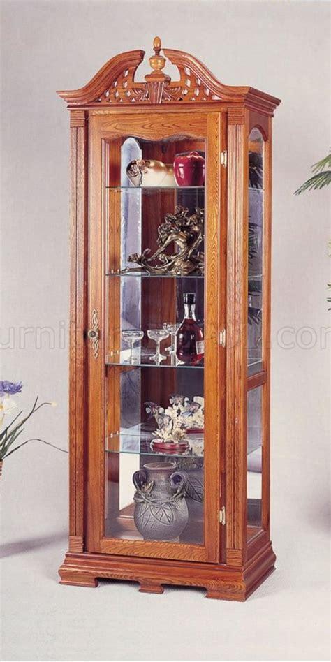 oak finish chippendale style curio cabinet w interior light