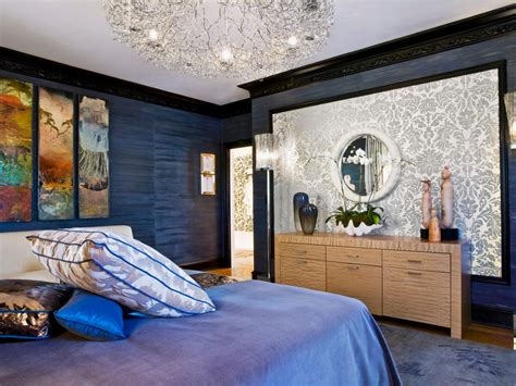 Navy, Gold, And White Master Bedroom