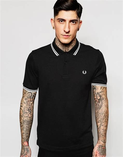 fred perry köln fred perry fred perry slim fit polo with tipped in black