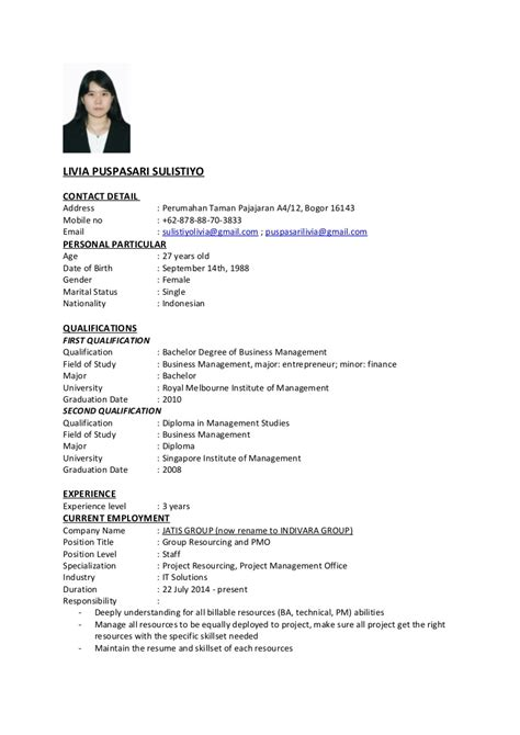 Simple Cv Exles by Sle Resume For Fresh Graduate Malaysia