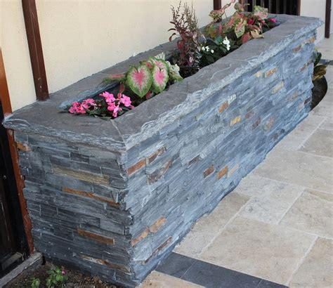 stone ledger planter box rustic exterior dallas