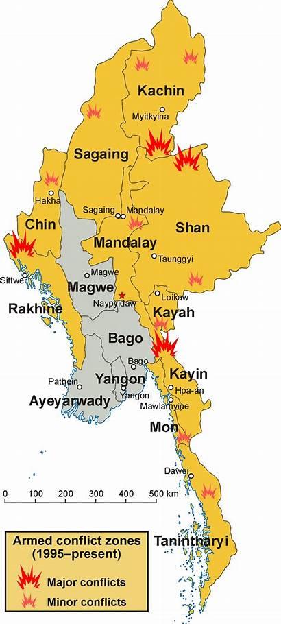 Myanmar Conflict Zones Birmanie Conflit Armed Map