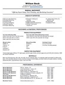 cnc machinist resume sles free cnc machinist resume getessay biz