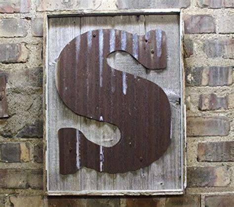 rusty tin letter  rustic wood frame monogram rustic