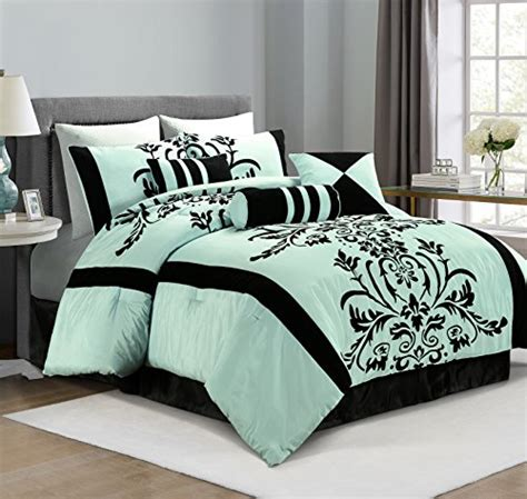 blue and black comforter chezmoi collection 7 aqua with blue and black floral