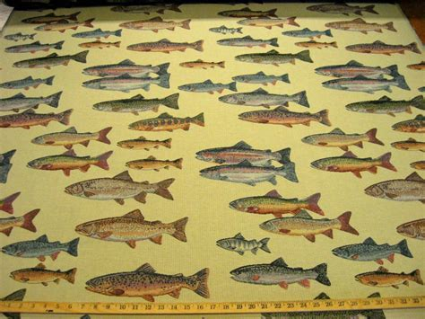 Fish Upholstery Fabric by Fish Story Trout Tapestry Upholstery Fabric Ft859 Ebay