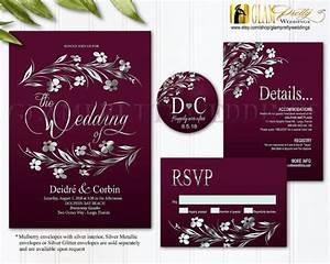 Burgundy Silver Foil Wedding Invitation By