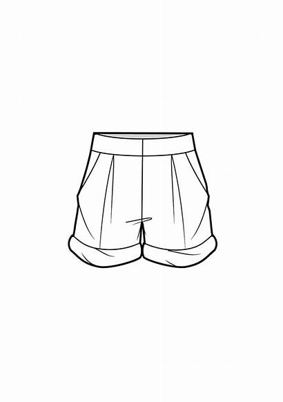 Drawing Shorts Technical Flats Hem Desenho Sketch
