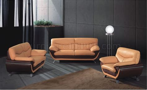 piece beige  brown  tone leather living room set