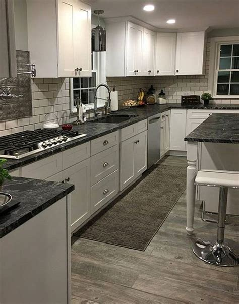White Kitchen Cupboards With Black Countertops by Black Granite Kitchen Gray Wood Floors Melville Kitchen