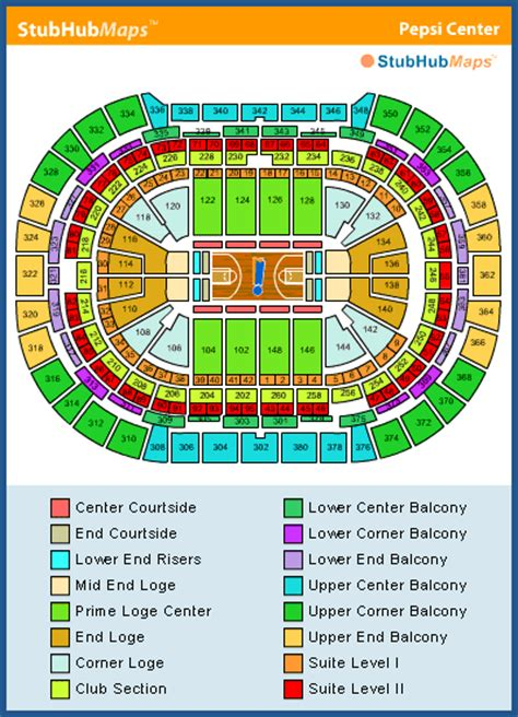 pepsi center seating chart pictures directions  history denver nuggets espn