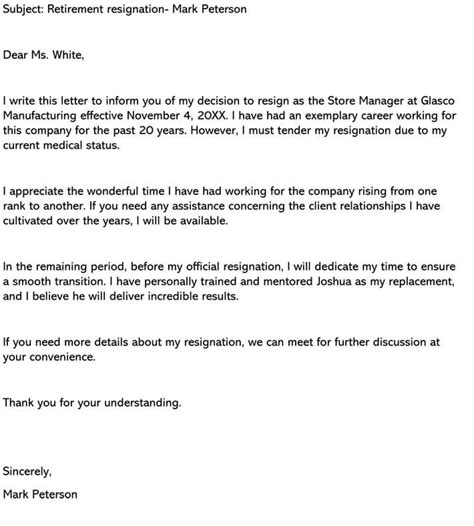 retirement letter  resignation sample letters examples
