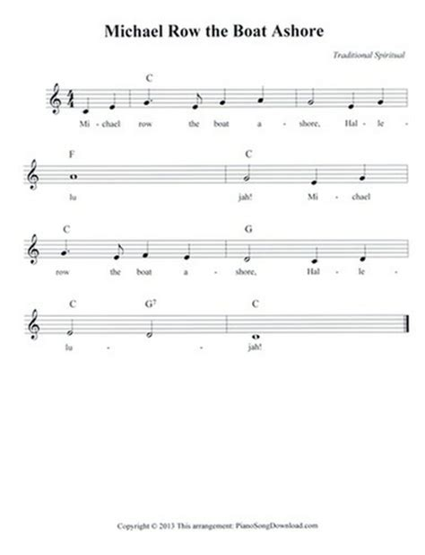 Michael Row The Boat Ashore Easy Chords by Michael Row The Boat Ashore Free Lead Sheet With Melody