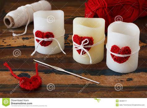 d 233 coration de valentin de coeur de crochet fait pour image stock