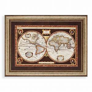 Decorative world map framed wall art world maps wayfair for Kitchen cabinets lowes with globe map wall art