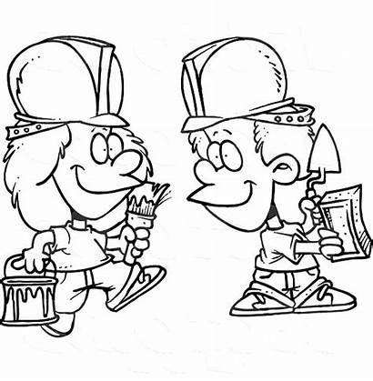 Worker Construction Coloring Cartoon Hat Pages Easy