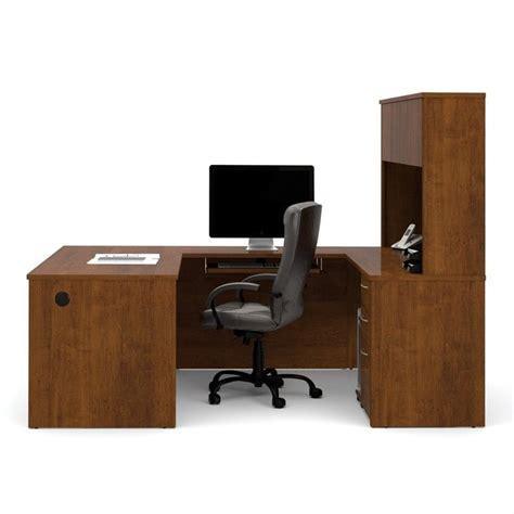 bestar embassy u desk with hutch in tuscany brown 60857 63