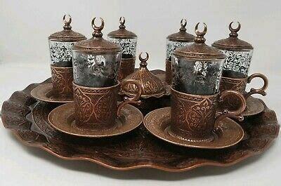 sena authentic turkish coffeeespresso set copper glass  piece ebay