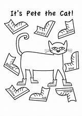 Pete Cat Coloring Shoes Sheets Youngandtae Cats Preschool sketch template