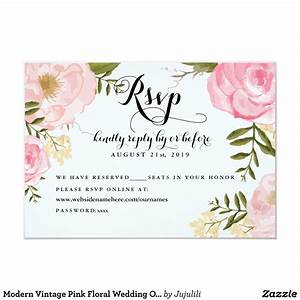 modern vintage pink floral wedding online rsvp card With wedding invitations with online reply