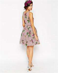 asos wedding lilac floral skater mini dress lyst With skater dress for wedding