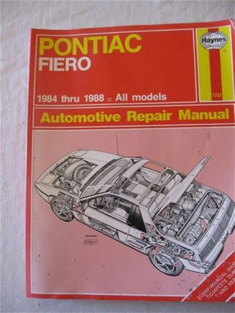 manual repair autos 1983 pontiac 6000 free book repair manuals haynes auto repair manual pontiac fiero 1984 thru 1988 service book 1232 ebay