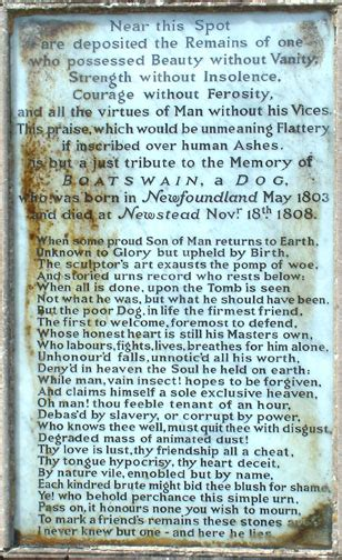 Nial Boatswain byron s monument to boatswain with newfies