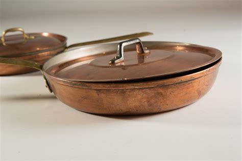 vintage copper pan  brass handles cooking frying pan
