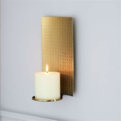 textured metal wall sconce west elm