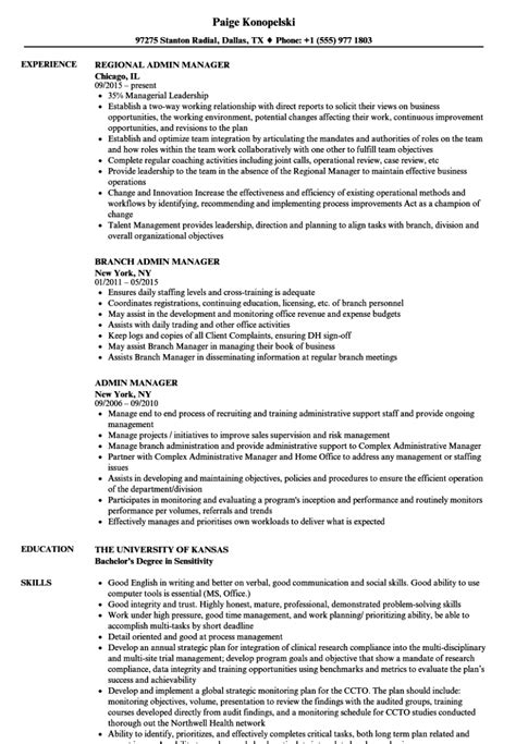 Admin Resume by Administrative Manager Resume Sle