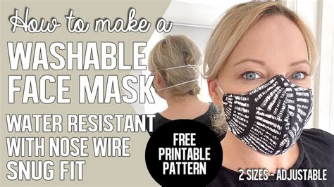 washable face mask water repellant snug