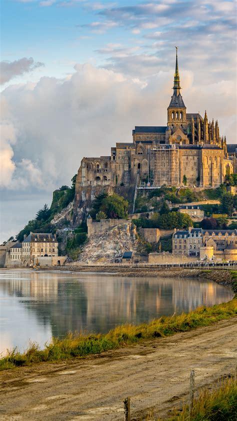 wallpaper mont saint michel france town castle tourism