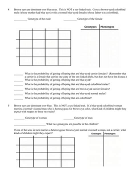 Genetics Practice Problem Worksheet Sex Linked Genes (sex Linkage)  Colors, Eyes And The O'jays