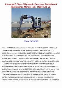 Komatsu Pc50uu 2 Hydraulic Excavator Operatio By Lucakeefe
