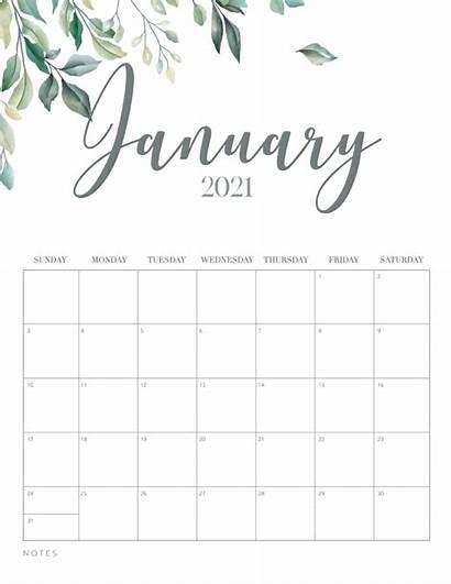 Calendar 2021 Printable Minimal Botanical January Template